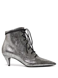Saint Laurent Charlotte Lace Up Metallic Leather Ankle Boots Silver