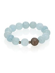Bavna 2.5Tcw Diamonds Aquamarine And Sterling Silver Beaded Bracelet Turquoise
