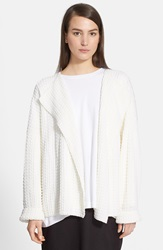 Eskandar Bubble Rib Knit Crop Cardigan Jacket White