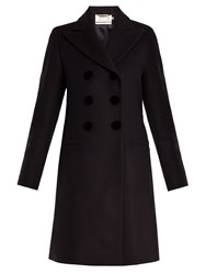 Goat Double Breasted Wool Felt Coat Navy