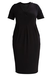 Evans V Neck Pocket Jersey Dress Black