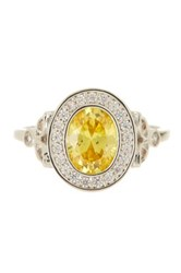 Nordstrom Rack Halo Canary Oval Cz Ring Size 7 Metallic