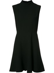 Saint Laurent Stand Up Collar Mini Dress Black