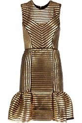 Maje Coated Twill And Mesh Mini Dress Gold