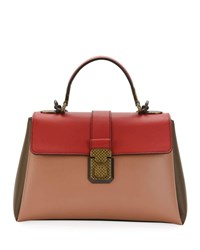 Bottega Veneta Colorblock Leather Top Handle Bag Blush