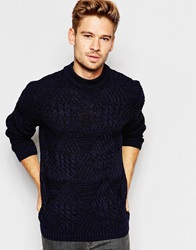 Asos Cable Knit Jumper With Chunky Neck Navytwist