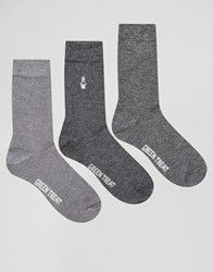 Green Treat 3 Pack Bamboo Ankle Socks In Twisted Yarn Black Grey