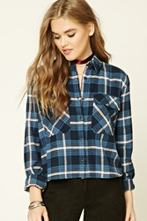 Forever 21 Boxy Plaid Flannel Shirt Navy Blue