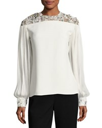 J. Mendel Embroidered Yoke Crepe Blouse White