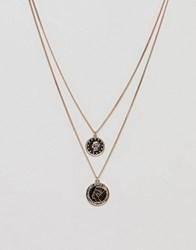 Monki Multi Row Sovereign Necklace In Gold