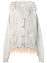 Maison Martin Margiela Feathered Hem Cardigan Neutrals