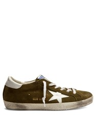 Golden Goose Super Star Low Top Suede Trainers Green White