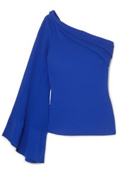 Brandon Maxwell One Shoulder Pintucked Crepe Top Royal Blue Gbp