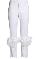Preen Ruffled Lace Trimmed High Rise Slim Leg Jeans White