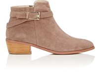 Barneys New York Women's Buckle Strap Suede Ankle Boots Dark Grey