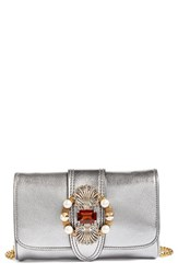 Miu Miu Jewel Flap Goatskin Leather Clutch