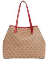 Guess Vikky Signature Tote Brown Gold