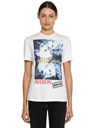 Versace Printed And Embroidered Cotton T Shirt White