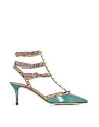 Valentino Rockstud Turquoise Patent Leather Mid Heel Ankle Strap Pump