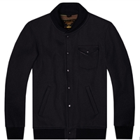 Fidelity Wool Military Baseball Jacket Navy