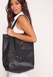 Missguided Soft Textured Classic Shopper Bag Black Black