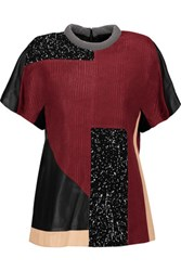 Proenza Schouler Leather And Printed Crepe Top Burgundy
