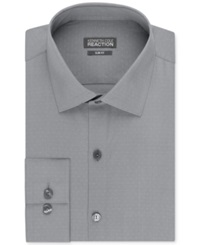 Kenneth Cole Reaction Slim Fit Dobby Solid Dress Shirt Grey