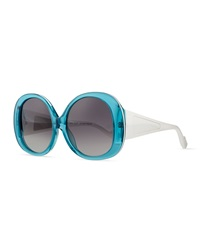 Courreges Plastic Oval Sunglasses Turquoise White
