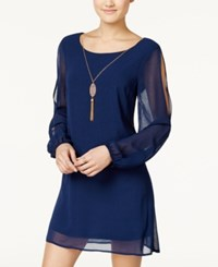 As U Wish Juniors' Split Sleeve Shift Dress With Necklace Navy