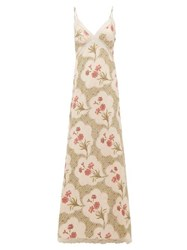 Brock Collection Onorino Floral Print Cotton Blend Gown Beige Multi