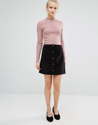 Vila A Line Button Front Skirt Black