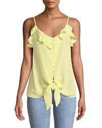 Dex Button Front Cami Top With Ruffles And Tie Yellow