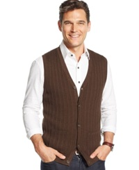 Tasso Elba Big And Tall Cable Front Sweater Vest Only At Macy's Brown Heather