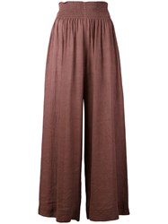 Forte Forte Elasticated Waistband Palazzo Pants Women Cotton Linen Flax 2 Pink Purple