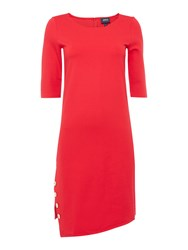 Armani Jeans Long Sleeve Split Side Dress With Button Detail Red