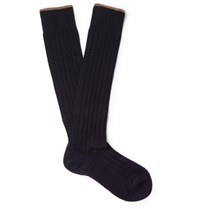 Brunello Cucinelli Contrast Tipped Ribbed Cashmere Over The Calf Socks Midnight Blue