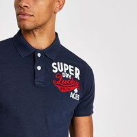 Superdry River Island Navy Superstate Polo Shirt