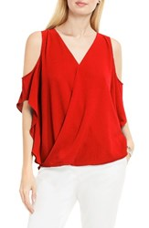 Vince Camuto Women's Wrap Front Cold Shoulder Blouse Dynamic Red