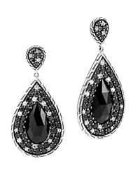 John Hardy Batu Classic Chain Sterling Silver Drop Earrings With Black Chalcedony Black Sapphire And White Sapphire Black Silver