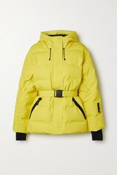 Ienki Ienki Sheena Hooded Belted Quilted Down Ski Jacket Yellow