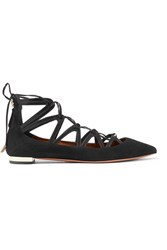 Aquazzura Maya Leather Trimmed Suede Point Toe Flats Black