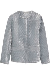 Ganni Quilted Velvet Jacket Light Blue