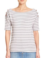 See By Chlo Striped Boatneck Cotton Tee Stone Wash