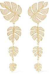 Sydney Evan Monstera Leaf 14 Karat Gold Diamond Earrings One Size