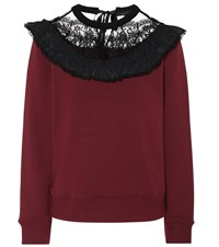 Marc Jacobs Lace Trimmed Cotton Sweatshirt Red