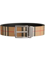 Burberry Reversible Vintage Check Leather Belt Nude And Neutrals