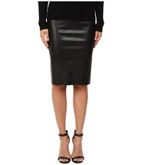 Lamarque Avana Stretch Leather Pencil Skirt Black