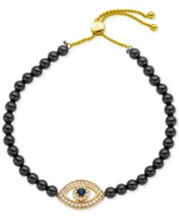 Giani Bernini Cubic Zirconia And Black Agate 14 1 4 Ct. T.W. Evil Eye Slider Bracelet In 18K Gold Plated Sterling Silver Only At Macy's