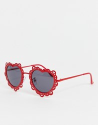 Jeepers Peepers Red Heart Filagree Sunglasses