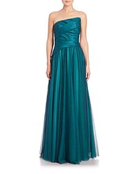 Monique Lhuillier Ruched Combo Gown Peacock
